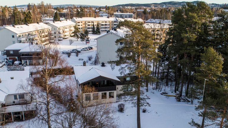 The house (C) of Norwegian real estate investor Tom Hagen and his wife Anne-Elisabeth Falkevik Hagen