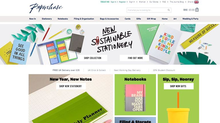 Screen grab of Paperchase website