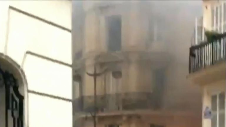 A loud explosion has been reported in central Paris, police have said, with unverified video showing damage to a building.
