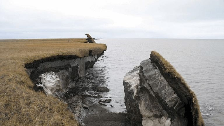 Thawing permafrost fell into the ocean in Alaska's Arctic Coast. Pic: Geological Survey