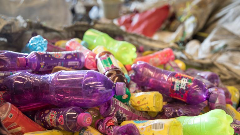 BANGKOK, THAILAND - SEPTEMBER 1 : Colored bottles, separated from the clear ones are seen at the Wongpanit Suvarnabhumi recycle collection center on September 1, 2017 in Bangkok, Thailand.