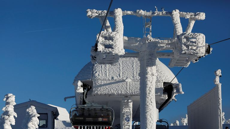 A lift is covered by snow at the mountain resort in Szczyrk, Poland