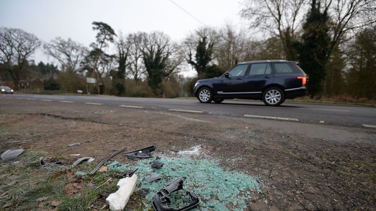 Broken glass and car parts on the side of the A149 near to the Sandringham Estate where the Duke of Edinburgh was involved in a road accident