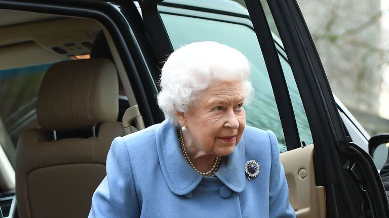 The Queen wore blue for the outing