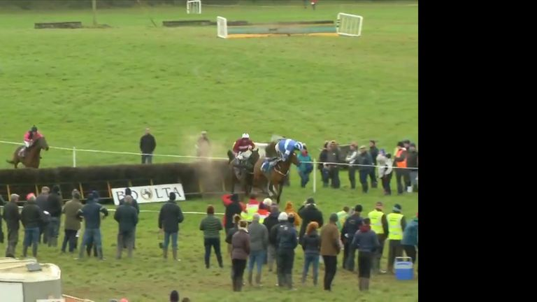 Jockey Michael Sweeney made an incredible recover after launching headfirst over the front of his horse in Cork, Ireland.