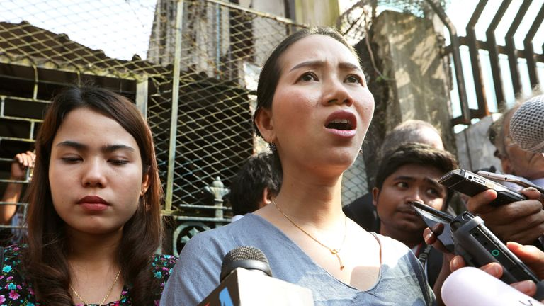 Pan Ei Mon (L) and Chit Su Win wives of jailed Reuters reporters Wa Lone and Kyaw Soe Oo talk to the media after their appeal was rejected by court in Yangon, Myanmar