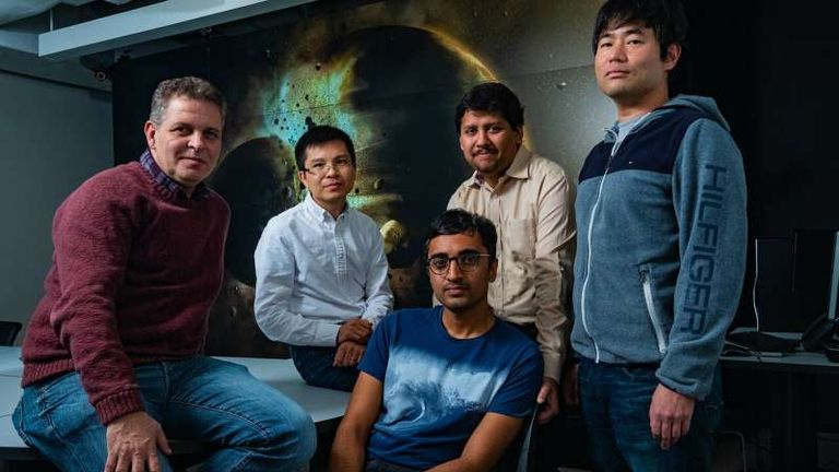 A study by Rice University scientists (from left) Gelu Costin, Chenguang Sun, Damanveer Grewal, Rajdeep Dasgupta and Kyusei Tsuno found Earth most likely received the bulk of its carbon, nitrogen and other life-essential elements from the planetary collision that created the moon more than 4.4 billion years ago. The findings appear in the journal Science Advances. Credit: Jeff Fitlow/Rice University