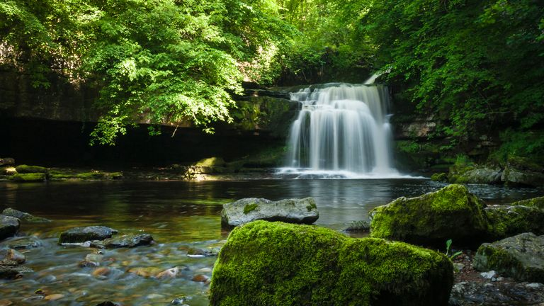 Cauldron Falls on Walden Beck in the village of West Burton, Yorkshire dales, England.