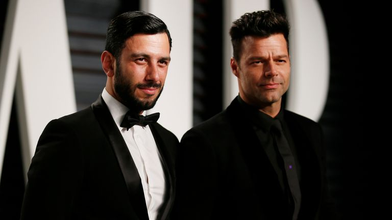 Ricky Martin (R) and husband Jwan Yosef