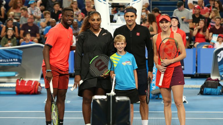 Frances Tiafoe and Serena Williams (left) took on Roger Federer and Belinda Bencic (right) at the Hopman Cup