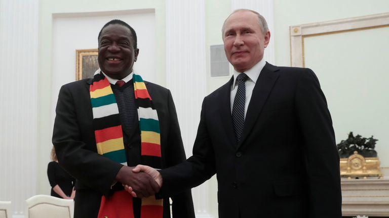 Vladimir Putin met Emmerson Mnangagwa on Tuesday