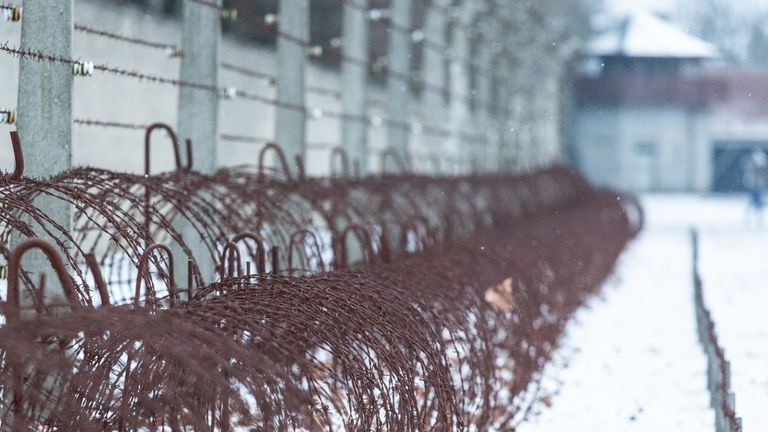 ORANIENBURG, GERMANY - JANUARY 25: Barbed wire and the electric fence surrounding the Sachsenhausen concentration camp memorial on January 25, 2019 in Oranienburg, Germany. International Holocaust Remembrance Day will take place on January 27. The Sachsenhausen facility was the main concentration camp near Berlin, used by the Nazis starting in 1936 initially for political prisoners, then later also for Jews and other religious minorities, homosexuals and Soviet prisoners of war. (Photo by Omer M