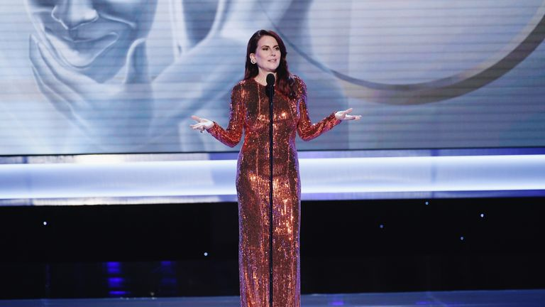 Host Megan Mullally on stage during the 25th Annual Screen Actors..Guild Awards at The Shrine Auditorium on January 27, 2019 in Los Angeles, California