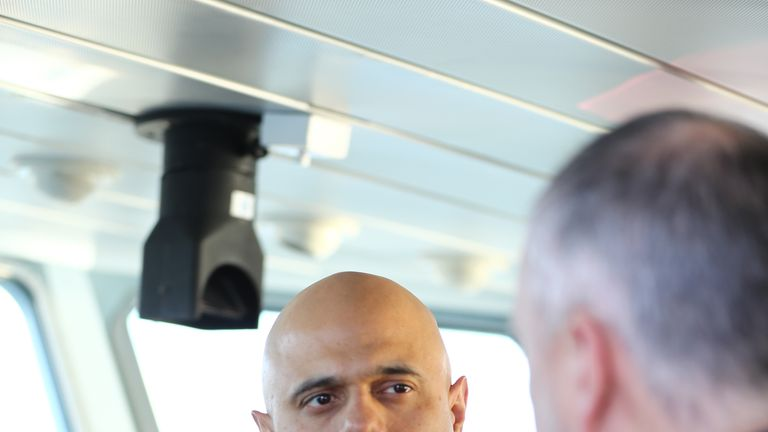 Home Secretary Sajid Javid meeting Border Force staff on board HMC Searcher in Dover, Kent