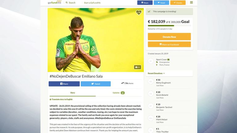 The GoFundMe page is seeking to raise €300,000 (£259,000) to resume the search for Sala and pilot Dave Ibbotson