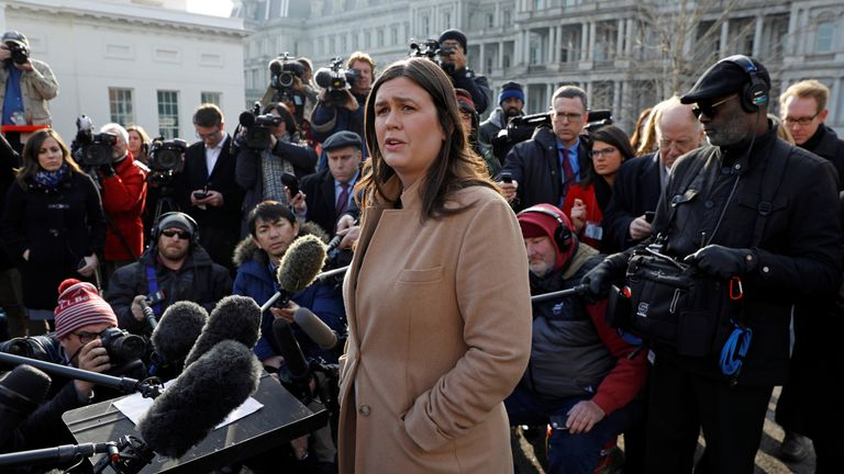 Sarah Sanders said the US would 'keep pressure and sanctions on North Korea'