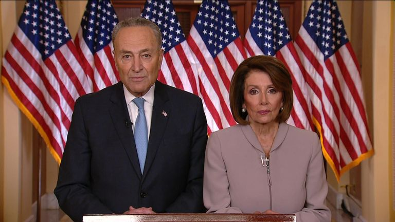 Senate Minority Leader Chuck Schumer and House Speaker Nancy Pelosi reply to the President's immigration speech for the Deomcrats