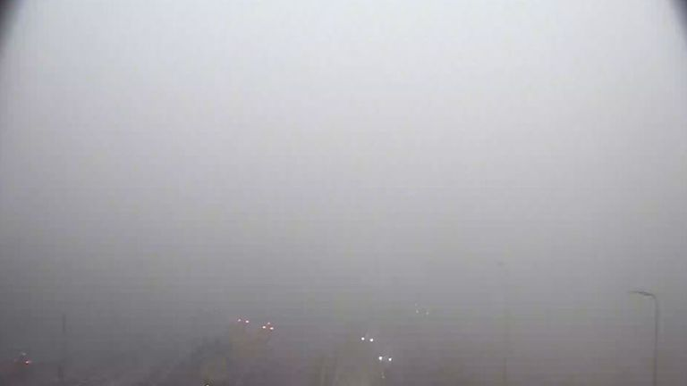 Thick fog on the M90 around the Queensferry Crossing road bridge. Pic: Traffic Scotland