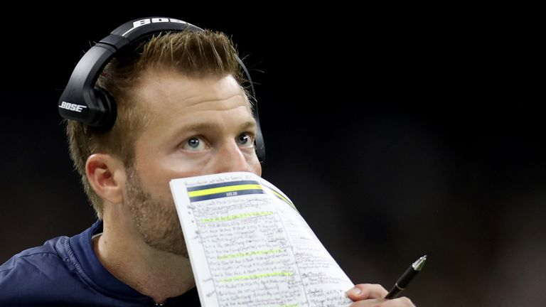 Head coach Sean McVay of the Los Angeles Rams looks on during the NFC Championship game