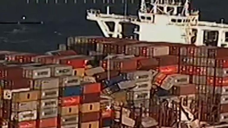 Dutch authorities warn people to stay away from the 270 shipping containers known to have fallen overboard during a storm as some contain a dangerous chemical