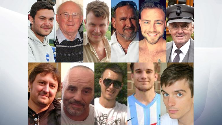 Shoreham air crash victims (from clockwise top left) Matthew Grimstone, Graham Mallinson, Tony Brightwell, Mark Reeves, Matt Jones, Maurice Abrahams, Richard Smith, Jacob Schilt, Daniele Polito, Mark Trussler, Dylan Archer