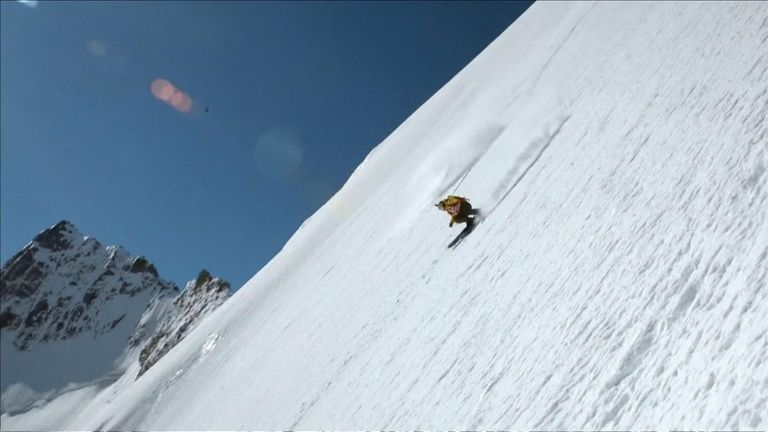 The skiers had to wait more than a month for the perfect snow to collect on the glacial front of the mountain.