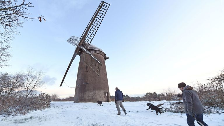 Dog walkers march past a windmill in Birkenhead, Merseyside