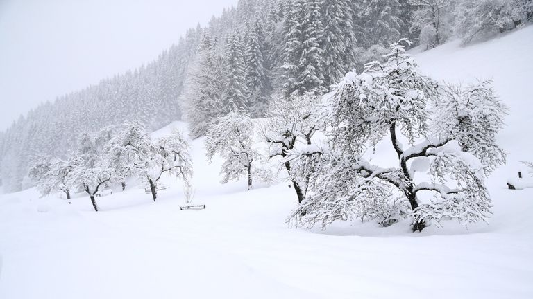 A picturesque scene near Goestling, Austria, but conditions on the mountains are hazardous