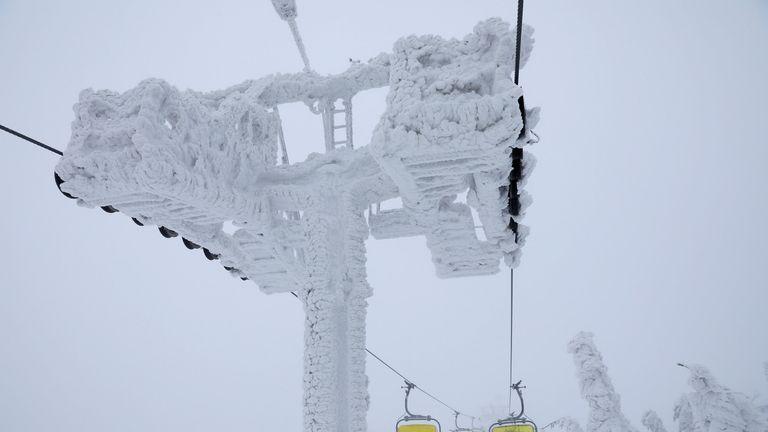 A chairlift on Skrzyczne mountain in Szczyrk, Poland