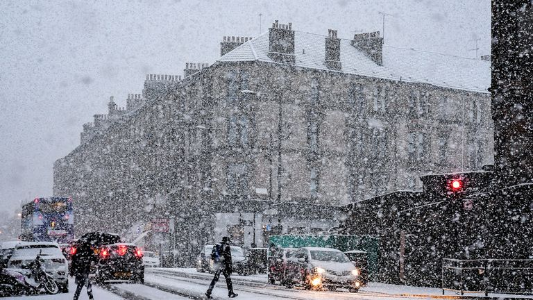 Snow fell on Glasgow in Scotland last week