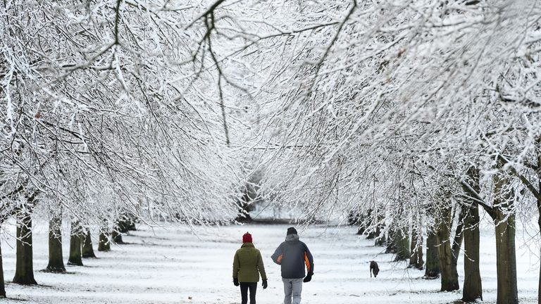 Snow fell on High Wycombe in the south of the country last week