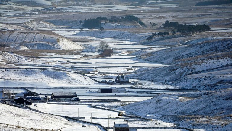 Farmhouses in Teesdale after a band of wintry weather brought hill snow and a risk of ice