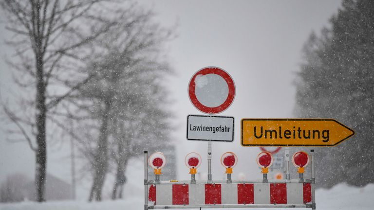 Heavy snow has hit large parts of Europe, with road closures in place