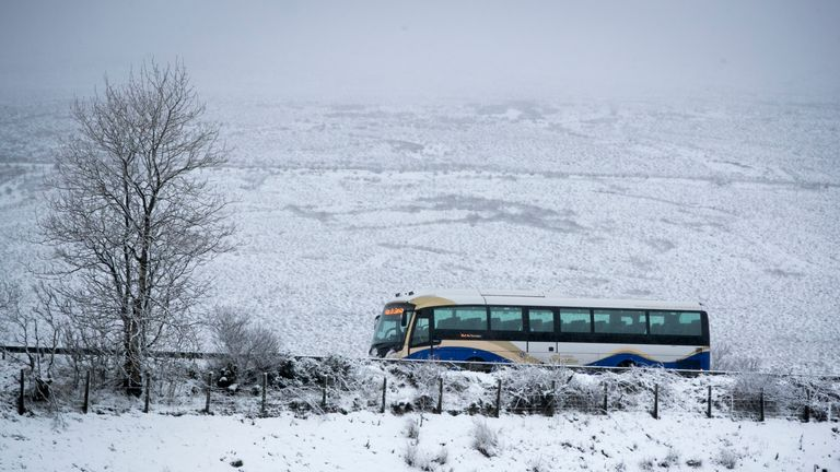 An out of service Ulsterbus travels along the Glenshane Pass in after heavy snowfall in Co. Londonderry, Northern Ireland as a band of wintry weather brought snow and a risk of ice to large parts of the UK.