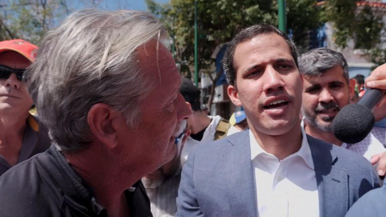 Sky's Stuart Ramsay speaks with Juan Guaido, leader of Venezuela's opposition and self-declared interim president