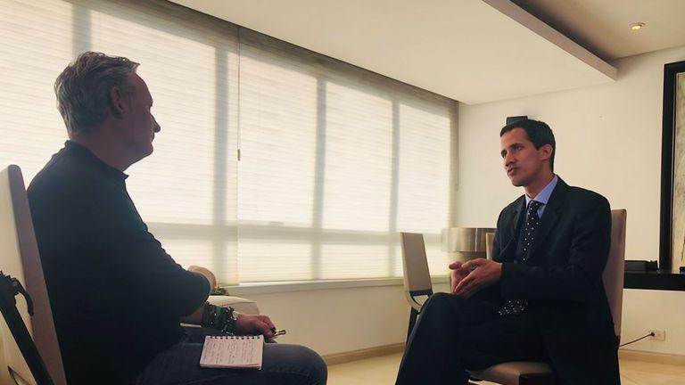 Sky's special correspondent Stuart Ramsay interviews Juan Guaido