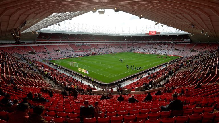 A general view of the stadium as players warm up ahead of the Sky Bet Championship match between Sunderland and Derby County at Stadium of Light on August 4, 2017 in Sunderland, England