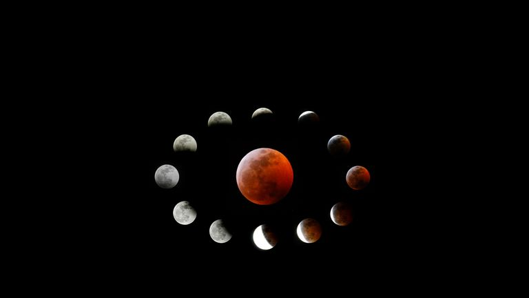 Combination photo shows the totally eclipsed moon and others at the different stages during a total lunar eclipse