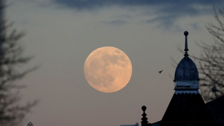 The moon rising over Huddersfield on Sunday night