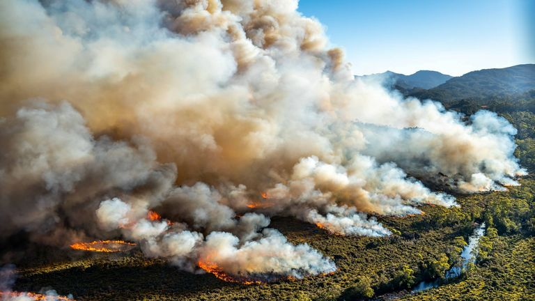 A large bushfire burns in Tasmania, Australia, in this undated photo courtesy of Tasmania Parks and Wildlife Service.