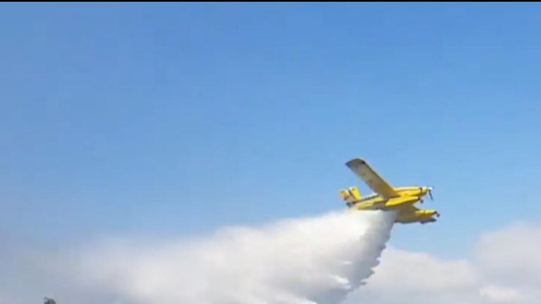 Fire fighting plane in Tasmania, Australia