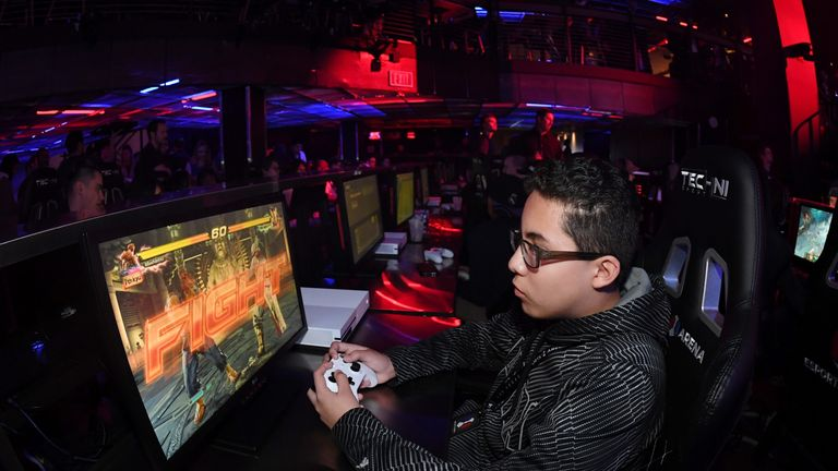 Irving Gonzalez of Nevada plays 'Tekken 7' during the grand opening of Esports Arena Las Vegas, the first dedicated esports arena on the Las Vegas Strip at Luxor Hotel and Casino on March 22, 2018 in Las Vegas, Nevada