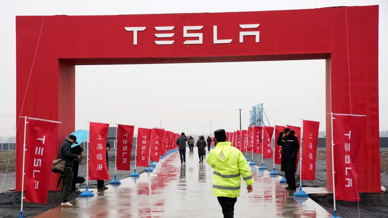 A Tesla logo is seen at a groundbreaking ceremony of Tesla Shanghai Gigafactory in Shanghai