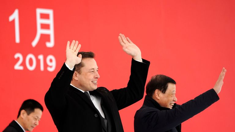 Tesla CEO Elon Musk and Shanghai's Mayor Ying Yong attend the Tesla Shanghai Gigafactory groundbreaking ceremony in Shanghai, China January 7, 2019