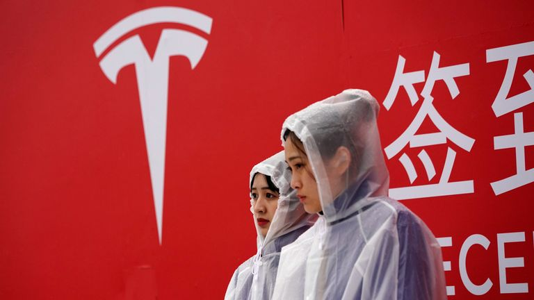 A Tesla logo is seen at a groundbreaking ceremony of Tesla Shanghai Gigafactory in Shanghai, China January 7, 2019.