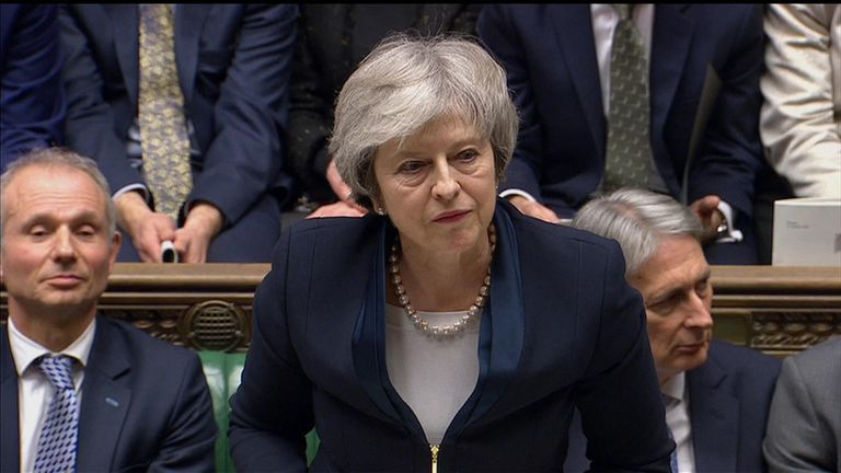 Theresa May reacts to Brexit defeat