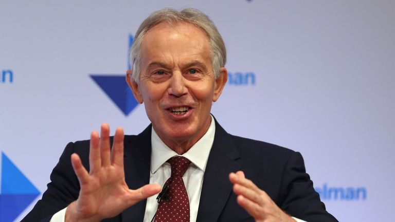 Tony Blair speaks at the launch of the US Public Relations company Edelman's trust barometer