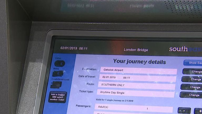 A train fare from London Bridge to Gatwick comes up as £10,000