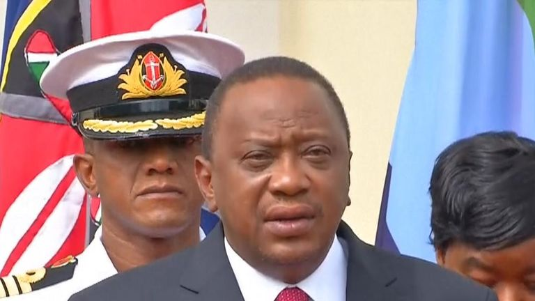 Kenya's president speaks in the aftermath of a terror attack in Nairobi