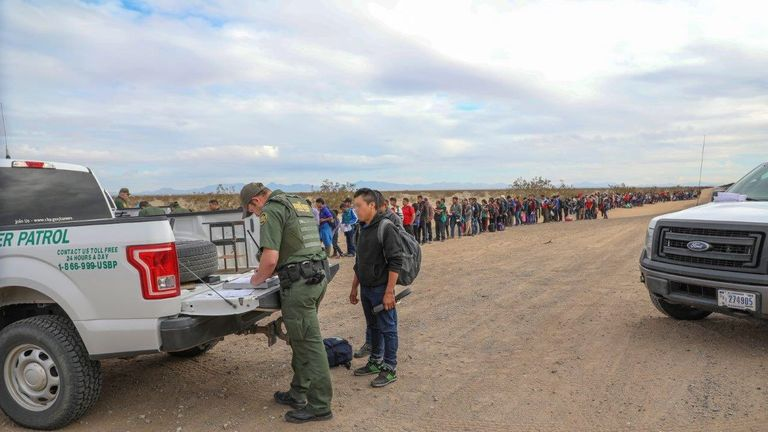 Border officials arrested almost 400 people from a single group after they handed themselves in. Pic: CBP Arizona